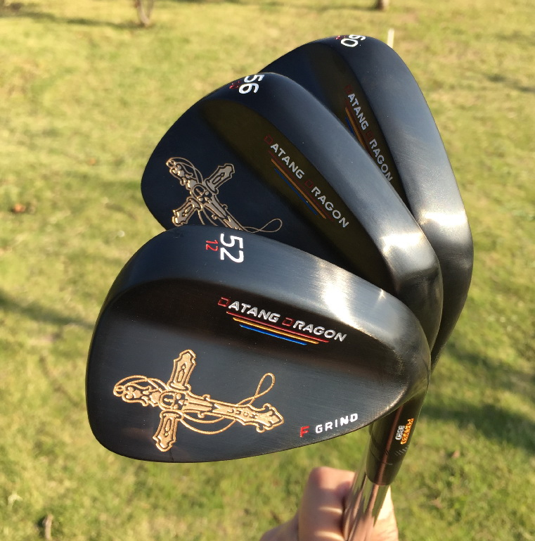 2017 black golf wedges 52 56 60 degree with original S300 steel shaft golf clubs crucifix real forged wedges