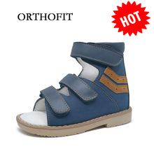 ORTHOFIT melni bērni ādas sandales slēgti toe bērni ortopēdiskie apavi zēns ādas sandales vasarā