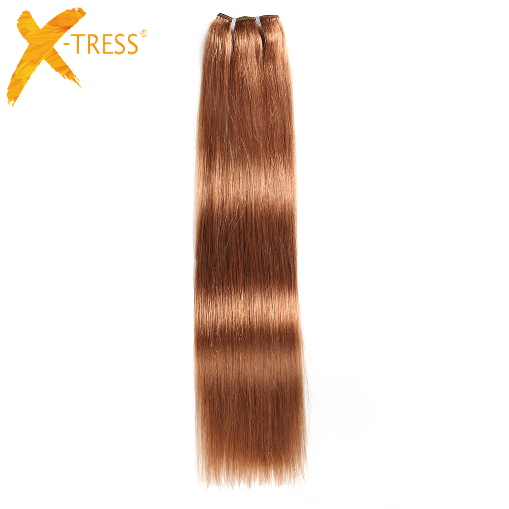 X-TRESS Brazilian Straight Human Hair Weave Bundles 1 Piece Only 8-22inch Brown 30# 100% Remy Hair Weft Extensions Free Shipping ...