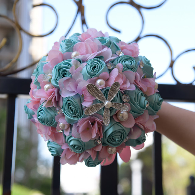 Turquoise Nautical Wedding Bridal Bouquets Starfish Pearl Crystals