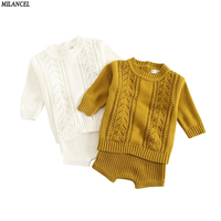 2018 Autumn Winter Baby Girl Clothes Set Knitted Boys Set Sweaters Shorts 2pcs Kids Clothing Girls