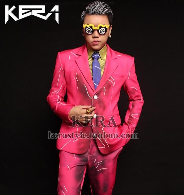 Hot 2016 nova estrela do mesmo estilo de cor rosa casaco amarelo ternos cantor DJ trajes boate S-XXL