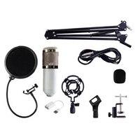 BM800 Condenser Microphone Kit Studio Suspension Boom Scissor Arm Sound Card White