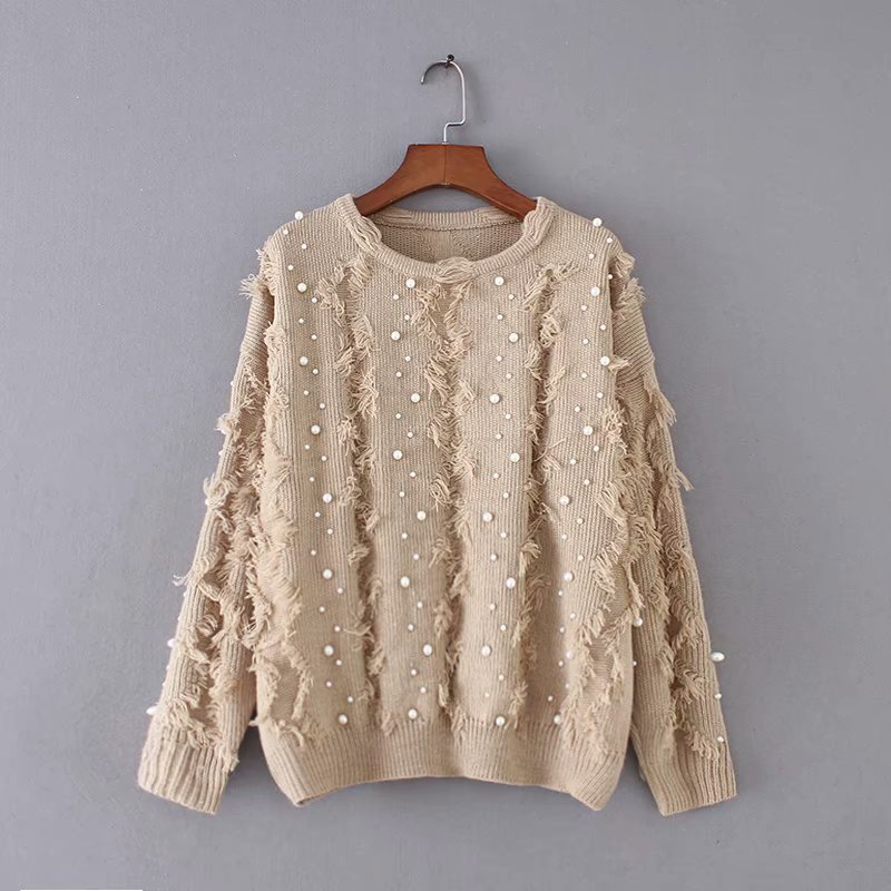 Perles Femmes Nouveau Ltd1198364 vert Solide O kaki Noir Streetwear cou Robes Patchwork Gland blanc Pull Coton Lady Tricoté Elyb 0wm8nONv