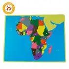 Цветные части пазлов мира Монтессори карты с ручкой игры, география, детские деревянные доски, игрушки, обучающие приспособления, головоломка, Карта мира - 5