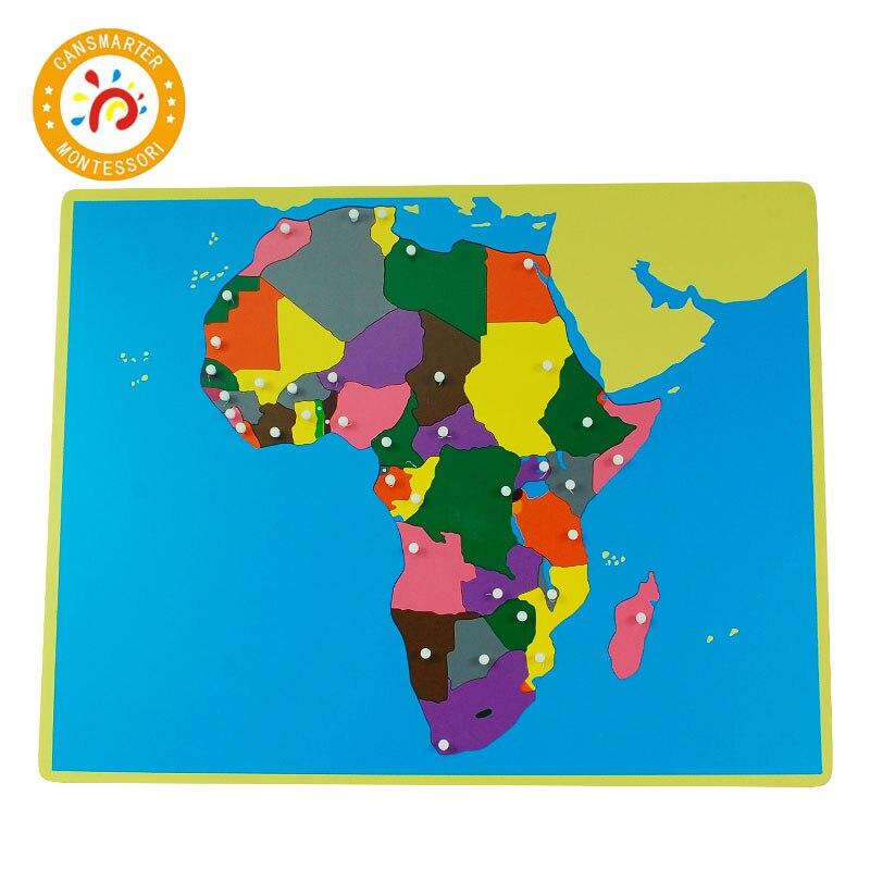 Pièces de couleur Puzzles du monde cartes Montessori avec bouton jeux géographie enfants planche de bois jouets aides pédagogiques Puzzle carte du monde - 5