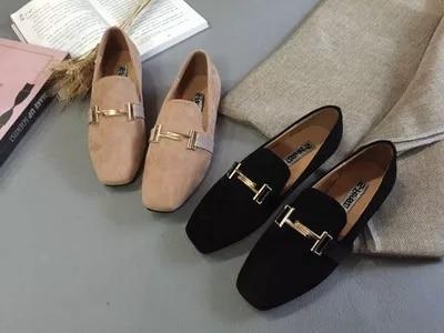 Casual naranja Suede De 2017 Superficial Nueva Zapatos Femeninos Mate Guisantes Los Primavera Planos Negro Versión Mocasines Salvaje Coreana TRnFn8wqx