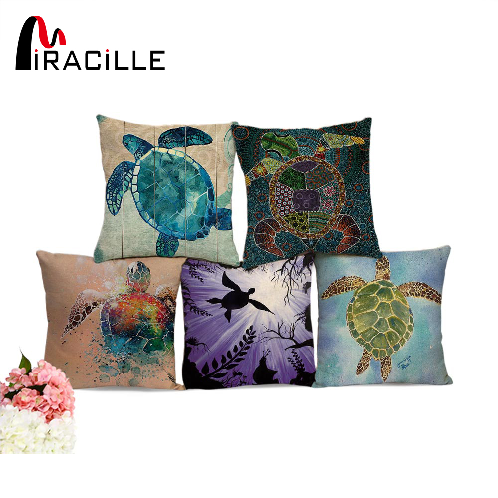 Miracille Sea Turtle Printed Cushion Covers untuk Sofa Haiwan Corak Bedroom Decorative Throw Pillowcase Square Bantal Cover 18 ""