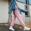 New Fashion 2017 Casual Loose Smooth Satin Pencil Pants Women Striped Patchwork Drawstring Trousers for Women Ladies Bottoms p45