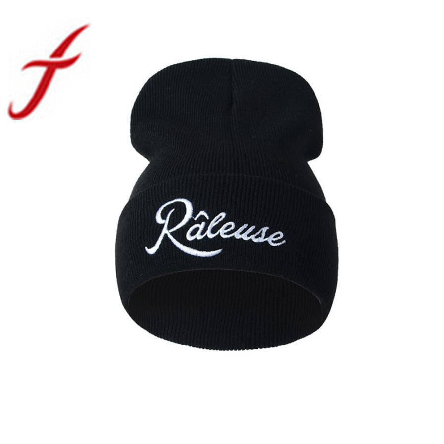 Feitong New Unisex Hip Hop Cap Letter Embroidery Keep Warm Knitted Earmuffs Hats Caps Men Women Beanie Bobble Skull Bonnet femme