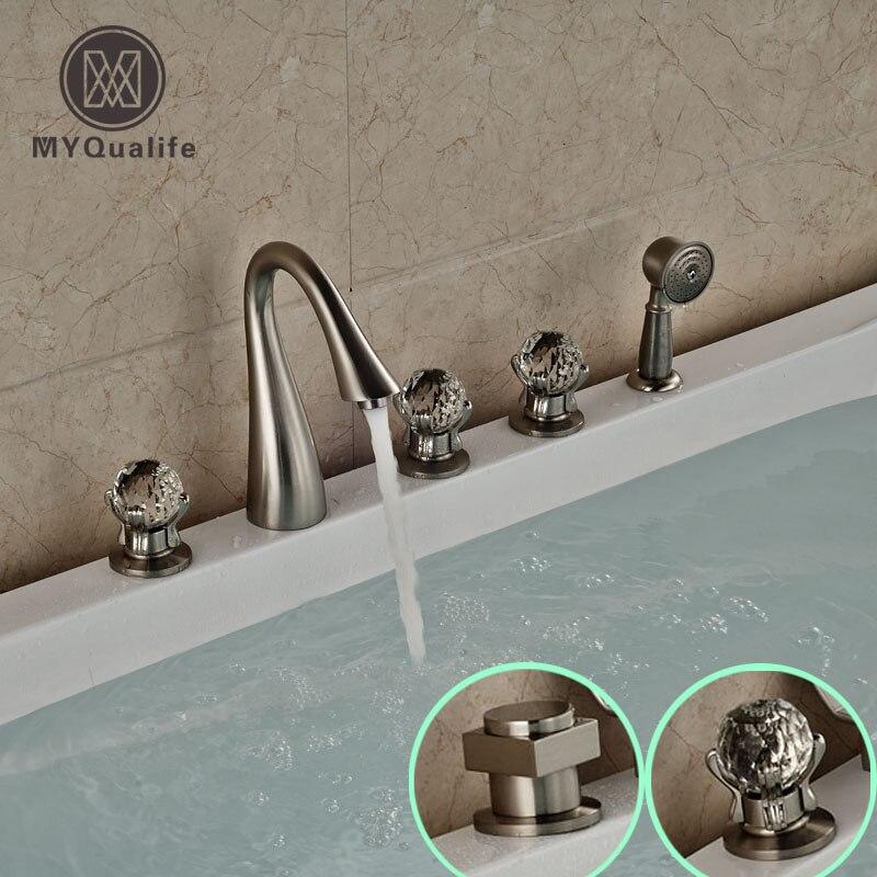 brand new deck mount 5pcs bath tub mixer taps widespread 3 handles tub faucet with handheld