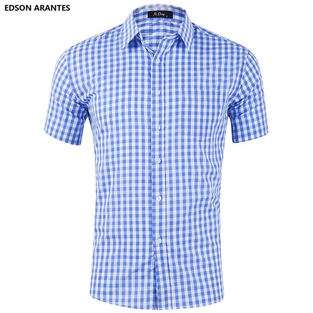 f08551f61232 EDSON ARANTES Men Summer Shirts Short Sleeve 100%cotton Men s Slim Fit  Western Plaid Checkered Gingham Button Down Male Shirt