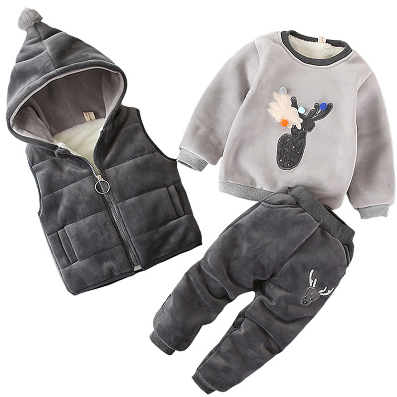 Toddler Boys Clothing Set Winter Girls Sweater + Hooded Jacket + Plush Pants 3pcs kids Tracksuit Casual Outfit Children Clothing