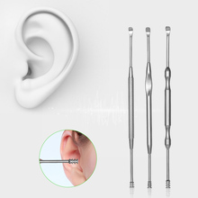 3pcs/Set Stainless Steel Ear Pick Double-ended Earpick Ear Wax Curette Remover Ear Cleaner Earpick Spoon Clean Ear