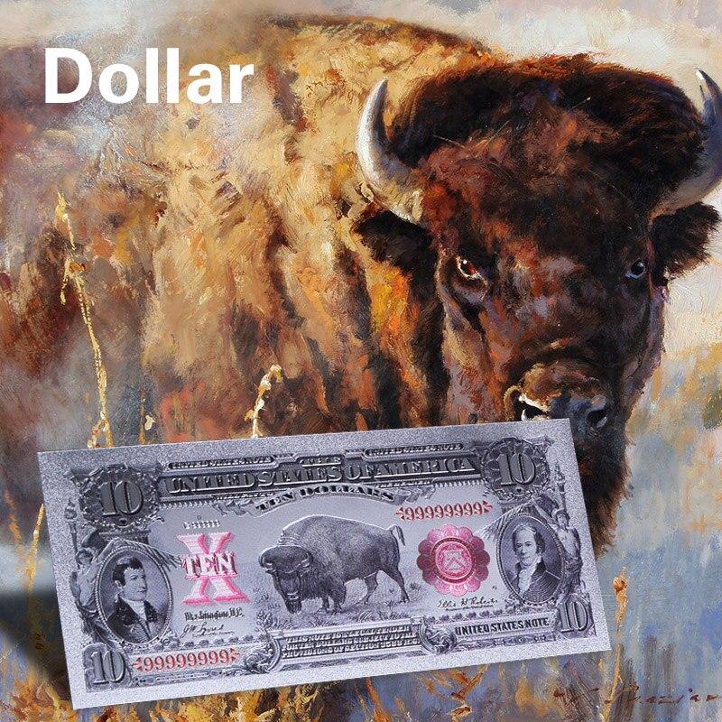 WR американская Серебряная Золотая банкнота, уникальная купюра в 2 долларов США, цветные копировальные деньги с подставкой для коллекции, де...