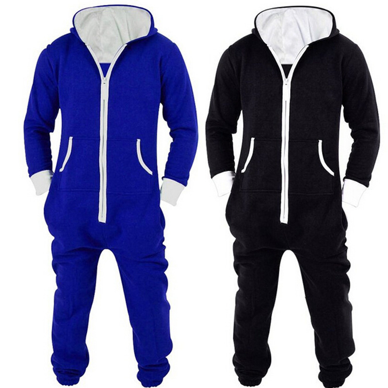 2019 Adults Unisex Onesies Pyjamas Mens Women One Piece Cotton Pajamas Sleepwear Onesies Sleepsuit Black/Blue Pijamas Women