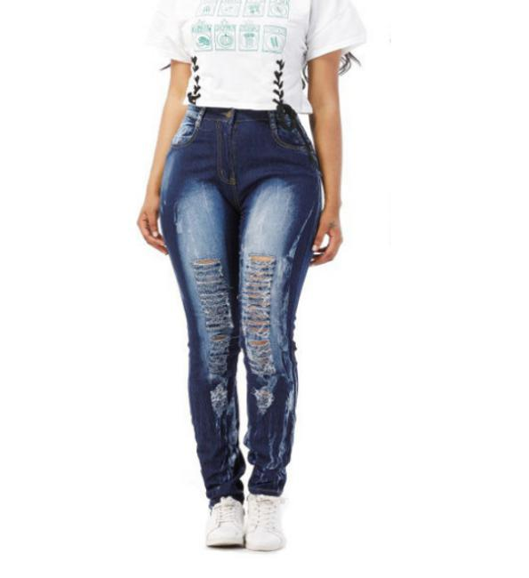New Mix Juniors Jeans Women Pant Blue Denim Stretch Jeans Skinny Ripped Distressed Pants