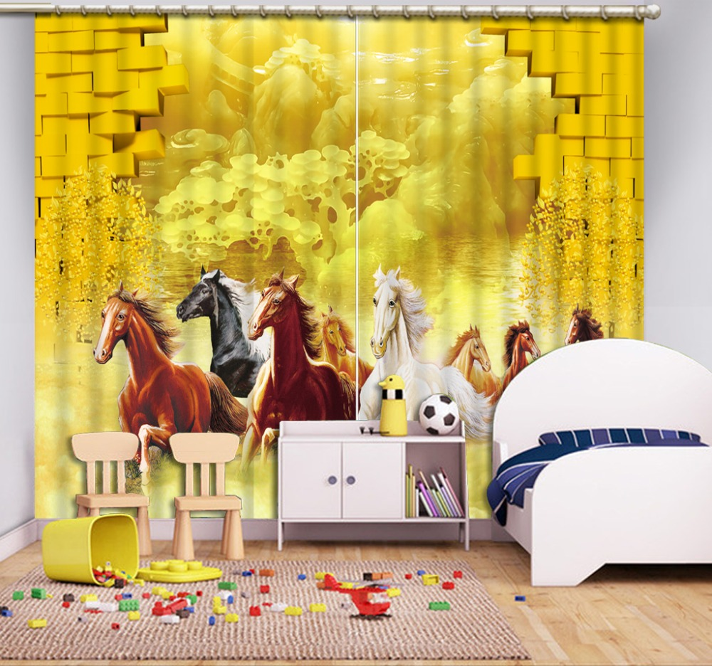 horse curtains Scenery Beauty Digital Photo Printing Blackout 3D Curtains for Living Room Bedding Room Hotel golden 3d curtains