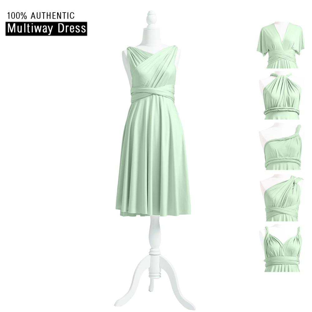 Sage Bridesmaid Dress Infinity Short Dress Blue Multi Way Knee Length Dress Convertible Wrap Dress With V-Neck Style