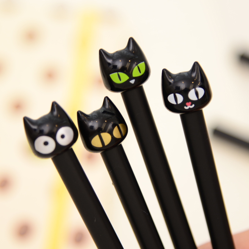B32 4X Cute Kawaii Black Cat Gel Pen Kawaii Writing Stationery Creative Gift School Office Supply 0.5mm