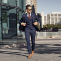 Slim Fit Men Blazer Navy Blue Men Suit  costume homme mariage mens suits wedding groom (jacket+pants+Vest)