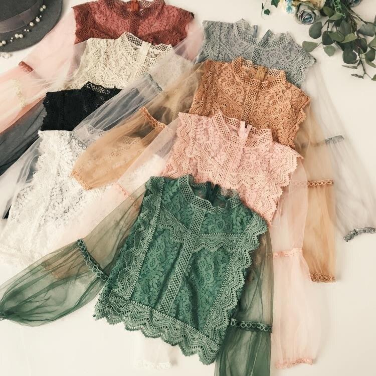 הגעה חדשה גבירותיי רשת תחרה וו פרח שרוול פנס רופף רטרו קצר סוודר חולצה חולצות נשים אופנה חמוד וואל חליפות