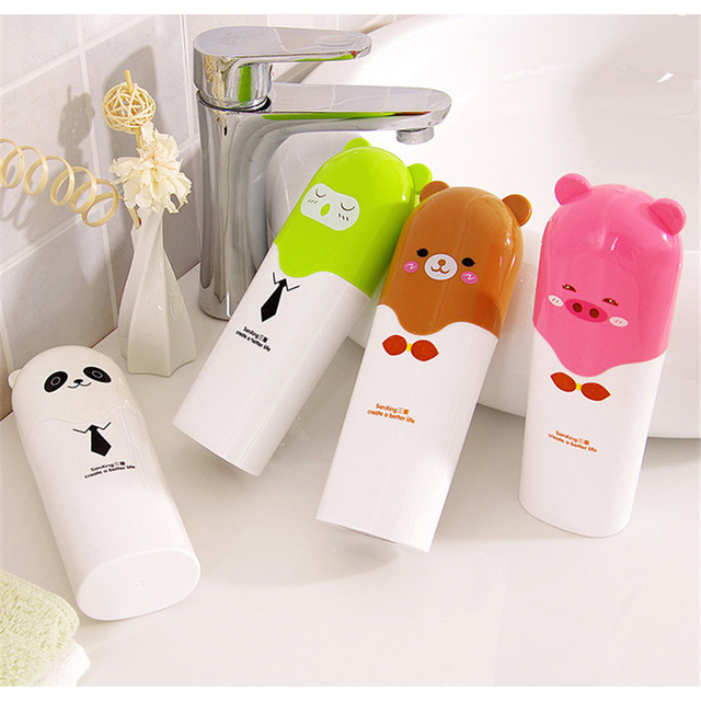 2in1 Cartoon Travel Toothbrush Storage Box Brush Teeth Cup Portable Plastic  Tube Box Holder Health Bacteria