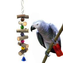 1 Pcs Parrot Climb Toy Natural Wood Color Brid Toy Hanging Swing Molar String Bite Chewing toys Bird cage accessories Supplies 1 pcs birds stand swing wood sepak takraw bite swing standing bar for medium big parrot parrotlet chewing ball bird toy supplies