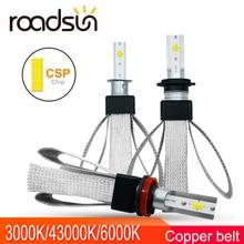 Roadsun фар автомобиля светодиодный H7 H3 H1 H11 светодиодный 4300 K Цвет Температура H4 Lo 3000 K Привет 6000 K лампочки комплект 9005 9006 880 авто лампы