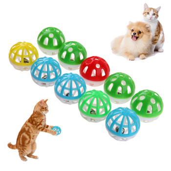 10pcs/set Plastic Cat Pet Sound Toy Cat Toys Hollow Out Round Pet Colorful Playing Ball Toys With Small Bell Cat Products
