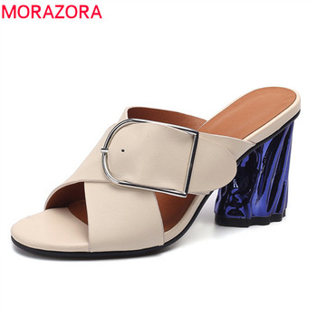 MORAZORA 2019 Handmade genuine leather shoes women sandals high heels ladies shoes buckle party prom shoes woman mules shoes