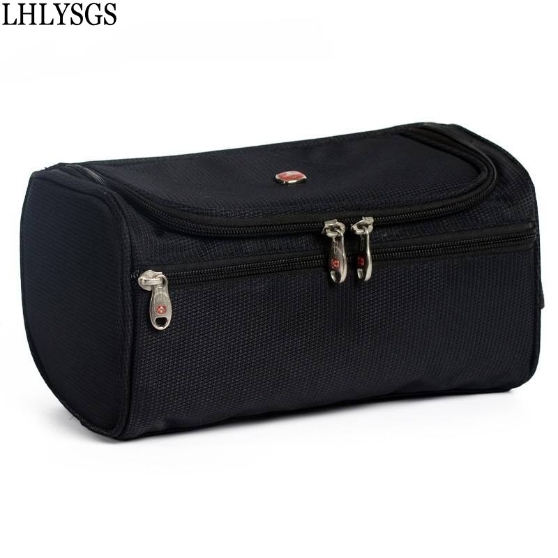 LHLYSGS Brand Men Large Waterproof Makeup Bag Nylon Travel Cosmetic Bag Organizer Case Necessaries Make Up Wash Toiletry Bag