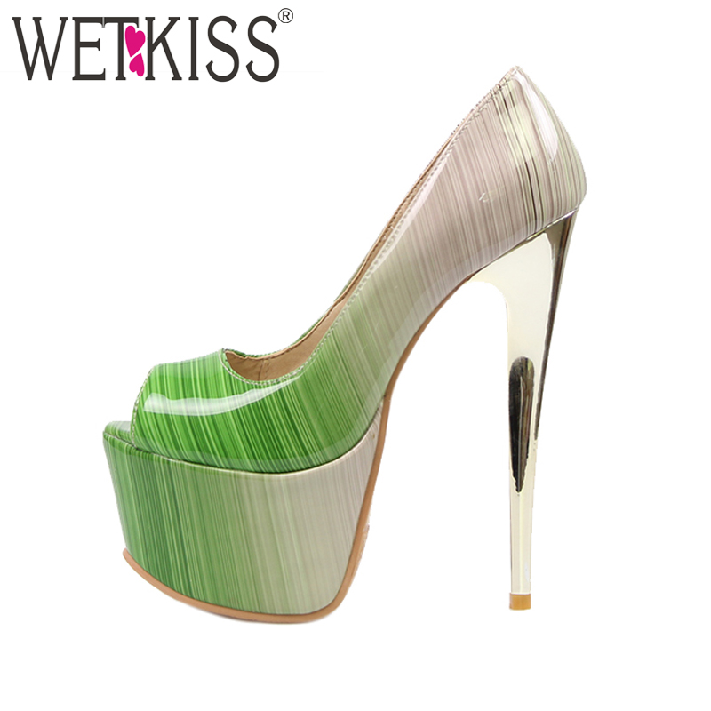 WETKISS Super Big Size 32-48 Extreme High Heels Women Pumps Sexy Peep toe Summer Shoes Woman Colored Party Thick Platform Pumps cdts 35 45 46 summer zapatos mujer peep toe sandals 15cm thin high heels flowers crystal platform sexy woman shoes wedding pumps