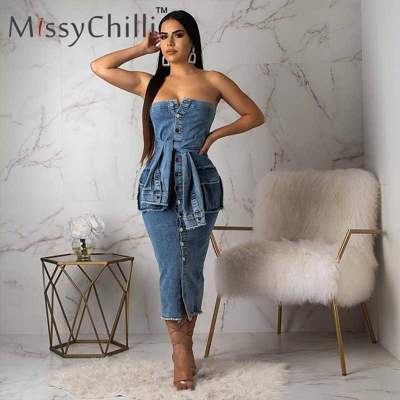 MissyChilli épaules nues moulante bleu robe en jean femmes grande taille automne robe élégante pour femme fête boîte de nuit robes en denim