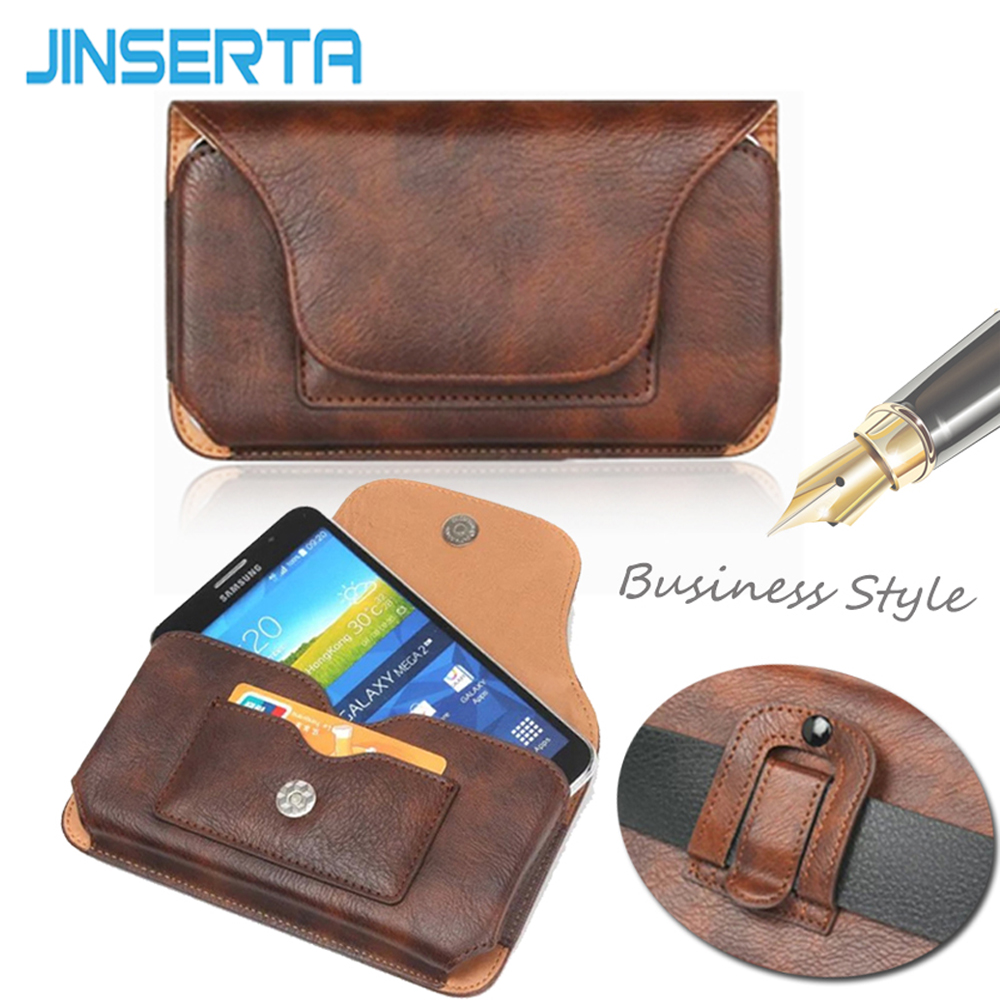 JINSERTA Universal Leather Belt Clip Holster Phone Pouch Case Bag for iPhone 7 7 Plus Vintage Card Slot Holsters Cases