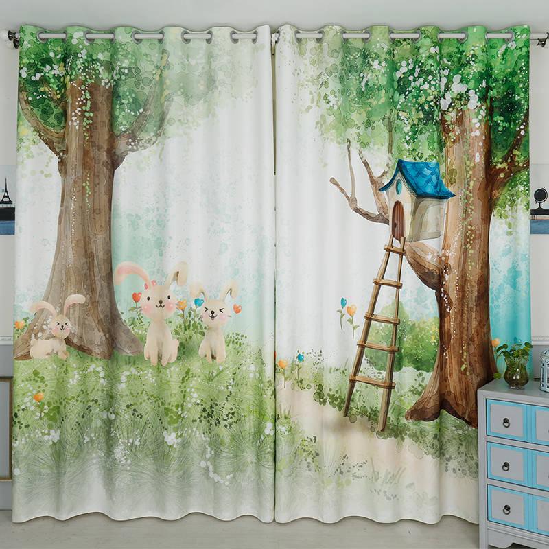 2x Tailored 200x260cm Drapery Panel Window Dressing Tulle Curtain For Nursery Kids Children Room Trees Rabbit Ladder Green