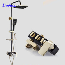 Dofaso luxury europe retro black/gold/white rainfall shower set bathroom shower faucet brass mixer tap cold and hot water shower цены