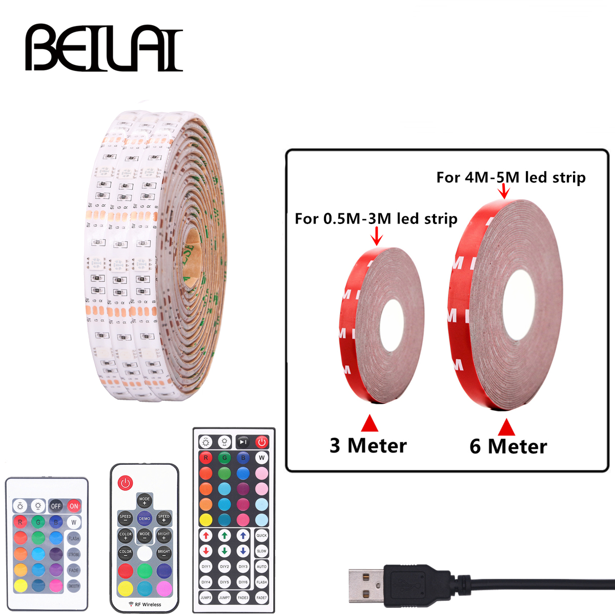 RGB USB LED Strip Light DIY 5V LED Strip Color Changing String Tape Ribbon Kitchen TV Backlight 3M/4M/5M Add Fixed Tape crane embroidery ribbon tape detail jacket