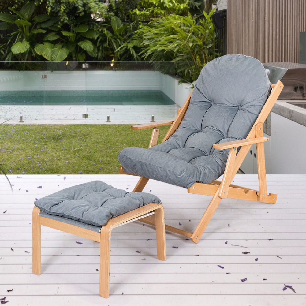 Giantex Folding Recliner Adjustable Lounge Chair Padded Armchair Patio Deck w/ Ottoman Home Furniture HW59353 2