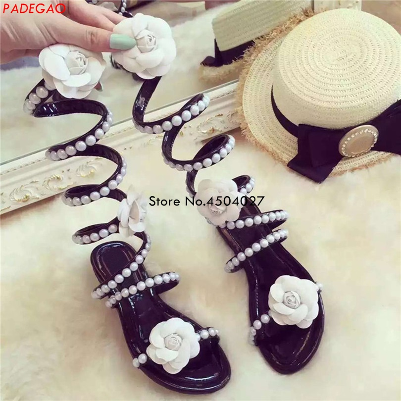 Sexy Knee High Cut Out Open Toe Summer Sandal Boots Flower Pearls Gladiator Shoes Women