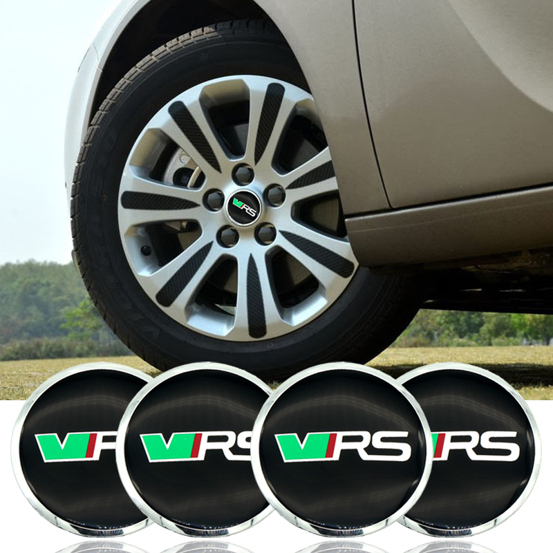 Car sticker 4pcs 56mm VRS Car Wheel Hub Center Caps Emblem Sticker For Skoda Octavia Fabia Yeti Styling Accessory Car-styling car styling wheel center hub caps wheel sticker emblem for cross logo for corvette mazda 3 silverado dodge ram vw golf clio benz