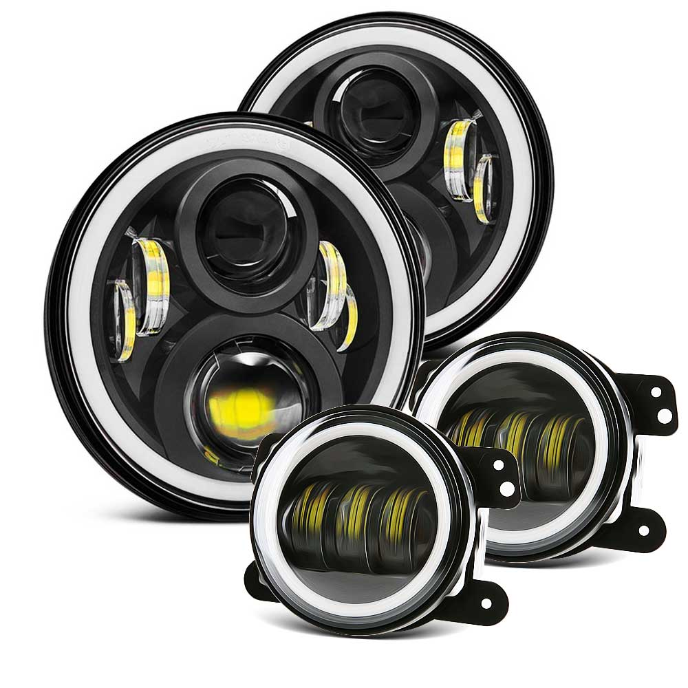 DOT 7Inch Led Round Headlights Amber Turn Signal Hi/Lo Beam DRL + 4Inch Front Bumper Fog Lights For 2007-2017 Jeep Wrangler JKDOT 7Inch Led Round Headlights Amber Turn Signal Hi/Lo Beam DRL + 4Inch Front Bumper Fog Lights For 2007-2017 Jeep Wrangler JK