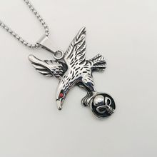 New fashion & trendy men's vintage antique silver Stainless Steel Flying Eagle Hawk Skull Pendant Necklace , CARA0008 vintage skull eagle hollow out pendant necklace for men