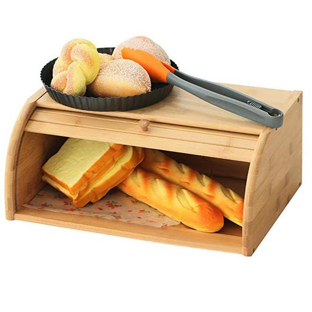 40X27X17CM Wholesale Natural Bamboo Bread Holder Food Storage Container  Kitchen Roll Top Bread Storage Box Kitchens
