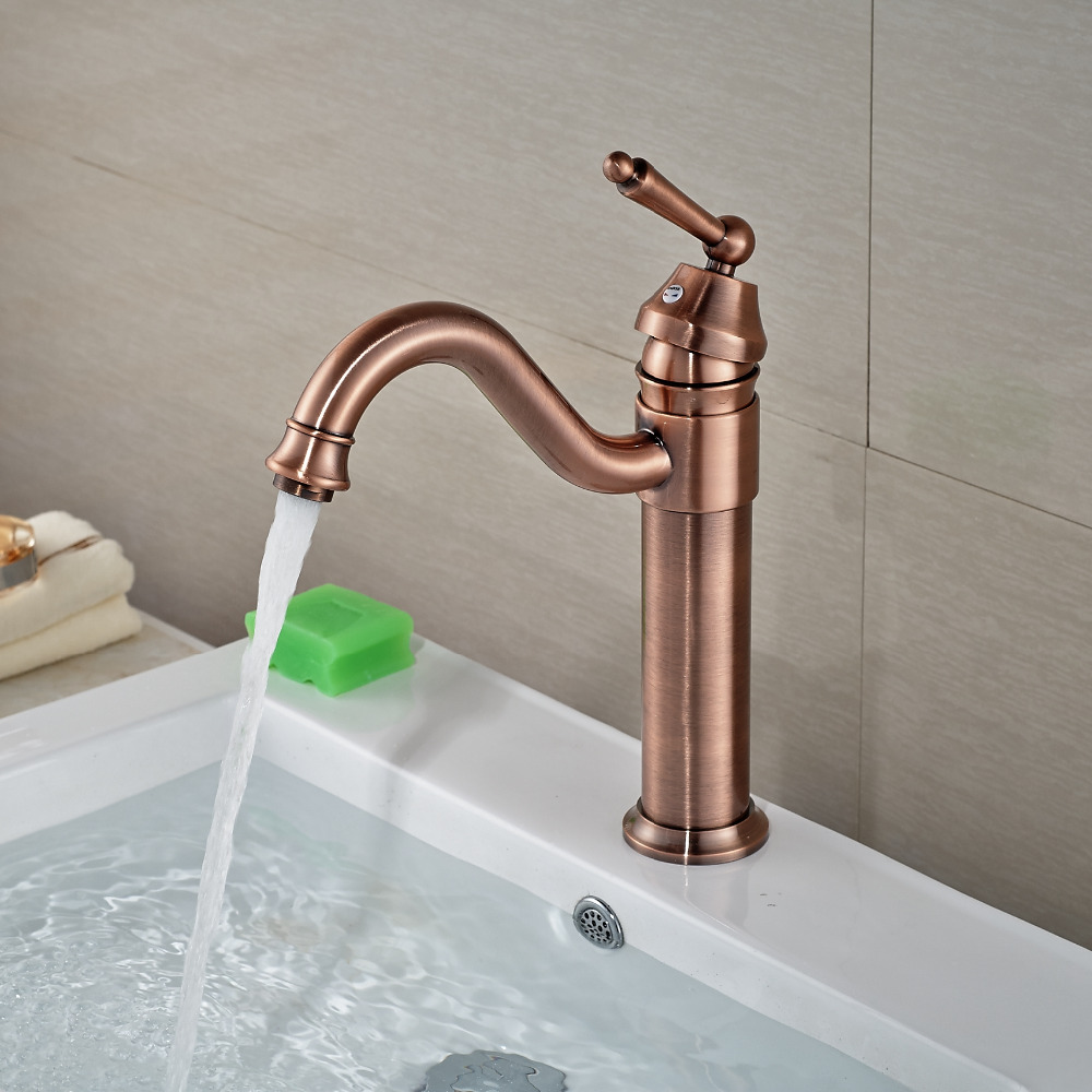 Wholesale And Retail Deck Mounted Brass Antique Copper Bathroom Basin Faucet Single Handle Hole Vanity Sink Mixer Tap us free shipping wholesale and retail modern deck mounted antique brass bathroom basin sink faucet mixer faucet tap dual handle