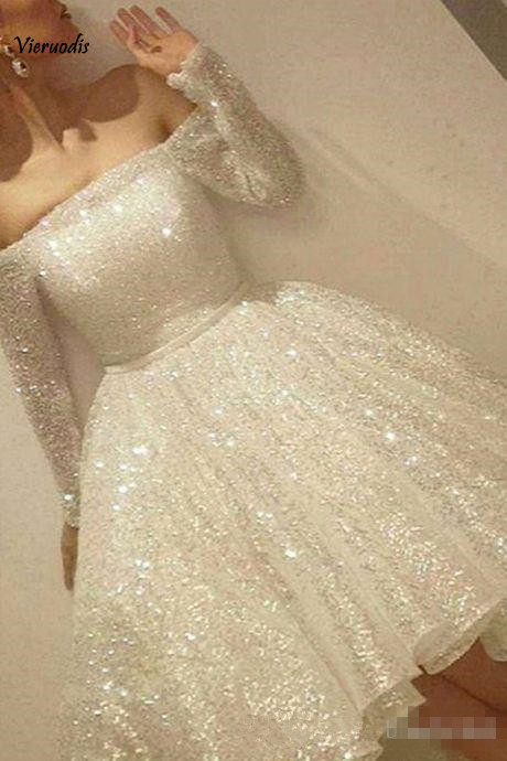 22-1             2019 New White Shine Short Homecoming Dresses Sequins Off The Shoulder Long Sleeve Party Dress Thin Ribbon A-Line Evening dress