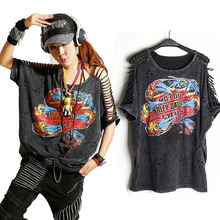 T Shirt Women PLUS SIZE Desigual Punk Rock Fashion Tops Camisetas roupas femininas camisas mujer Tshirt Women's Clothing Clothes