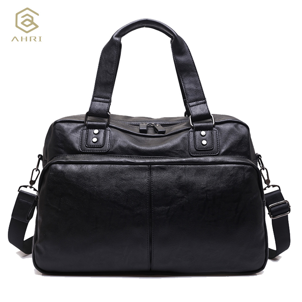 AHRI NEW 2017 Fashion Top handle Bag For Men Solid Handbag Brown PU Leather Shoulder Men's Casual Tote Bags Vintage Business Bag aosbos fashion portable insulated canvas lunch bag thermal food picnic lunch bags for women kids men cooler lunch box bag tote