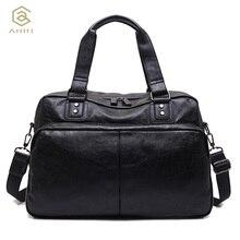AHRI NEW 2017 Fashion Top handle Bag For Men Solid Handbag Brown PU Leather Shoulder Men's Casual Tote Bags Vintage Business Bag
