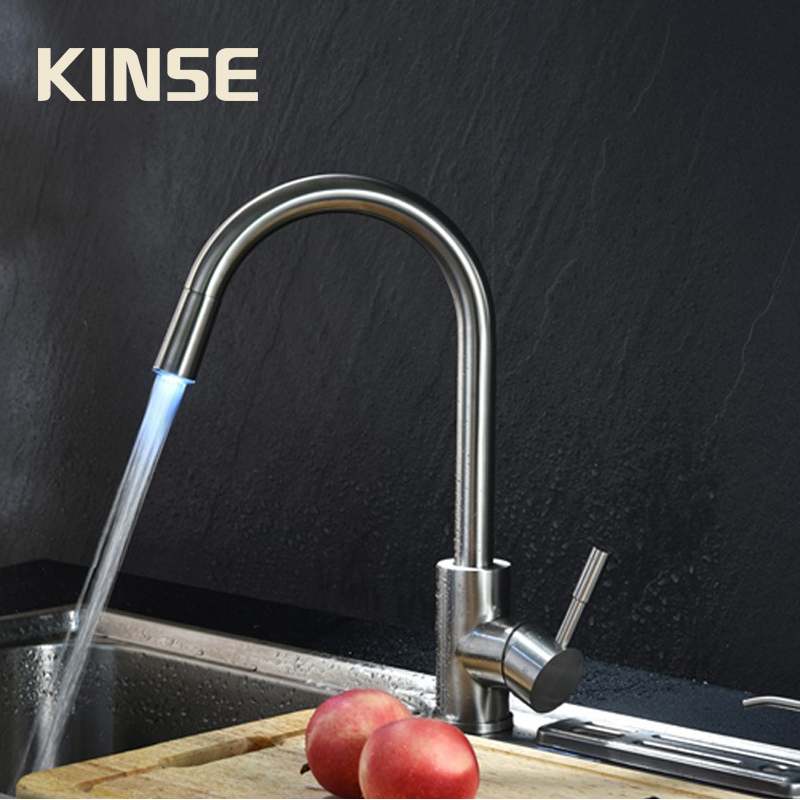 Stainless Steel304 LED Sink Kitchen Faucet Three Color Brushed FaucetHot Cold Mixed Water Kitchen Tap super high quality 304 stainless steel hot and cold no lead brushed basin safe sink kitchen faucet with german technology